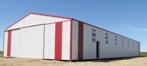 The new lambing barn measures 40 x 100'.