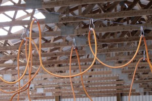 Overhead wires and hooks save time by keeping cables up and out of the way.
